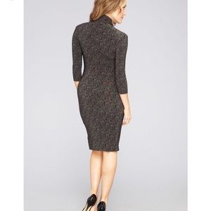 Norma Kamali Turtleneck Herringbone Sheath Dress